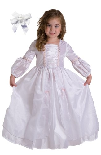 2 Item Bundle: Little Adventures Fancy Girls Princess Bride Wedding Dress Up Costume + Hair Bow-Girls Ages 3-5-Machine Washable