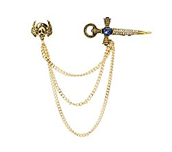 Kings Golden Swarovski Sword With Blue Stone,Hanging Tassel & Winged Skull Brooch/Shirt Stud/Lapel Pin For Men