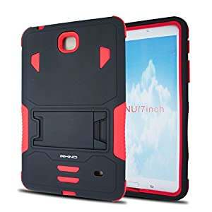 [iRhino] TM BLACK-RED Heavy Duty rugged impact Dual Layer Hybrid Case cover with Build In Kickstand Protective Case cover For Samsung galaxy Tab 4 7 inch T230 Tablet case cover by Rhino
