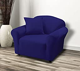 Linen Store Stretch Jersey Slipcover, Soft Form Fitting, Solid Color (Chair, Navy)