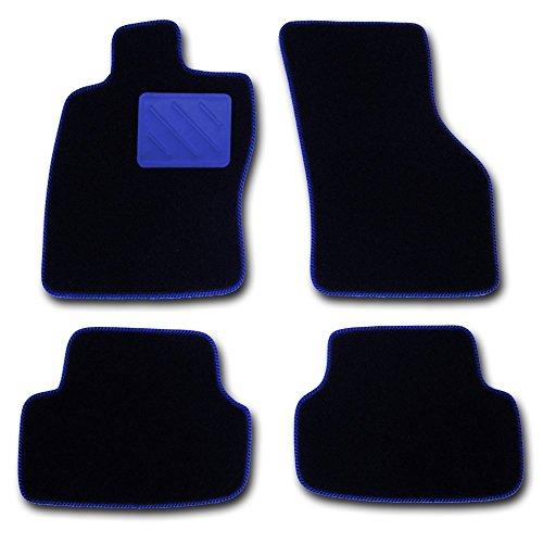 Passform Fussmatten HIGHLIGHT schwarz mit BLAUEM Absatzschoner - passend für Mercedes E-Klasse W211 / S211 Limousine / T-Modell Kombi Bj. 03/02 - 02/09 mit Mattenhalter vorne