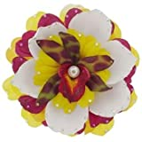 Michelle Roy Swarovski Crystal Large Layered Blooming Hair Clip Yellow, Magenta And White