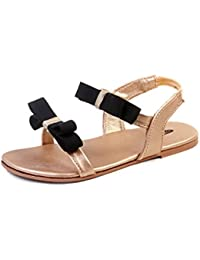 Beanz Fendi Bronze/Black Man Made Leather Sandal For Girls Size 24 EU