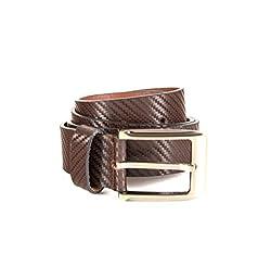 Quero Men's Fibra Print Formal Belt (4012_Brown_Small)