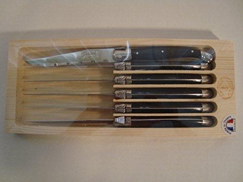 Laguiole Dubost Steak Knives, Black, Set of 6 in Wood Box