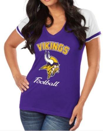 Minnesota Vikings NFL Women's Go For Two IV V-Neck Team T-shirt