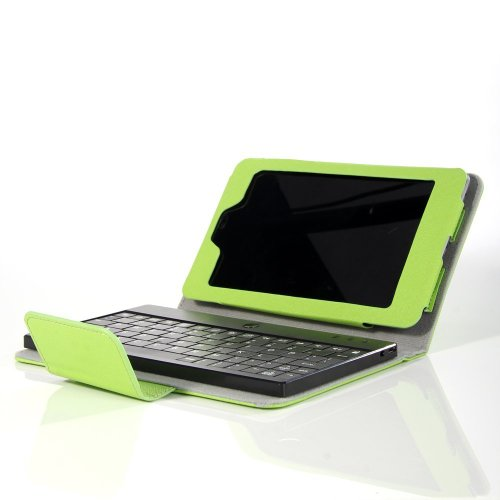 Flylinktech® Premium 2 In 1 Folding Pu Leather Case Cover With Detachable Wireless Bluetooth Keyboard For Google Nexus 7 (Green)