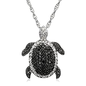 Sterling Silver Black and White Diamond Turtle Pendant