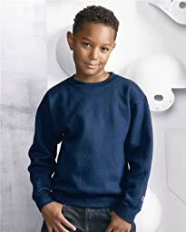 Champion Youth Crewneck Sweatshirt, Light Steel , Large