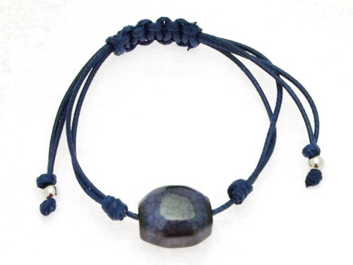 Dark Blue Thread Multi Strand Knotted Bangle Type Adjustable Bracelet with Blue Agate
