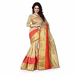 Sai Vira Fashion Cotton Zari Saree (SVF59131742220_Beige)