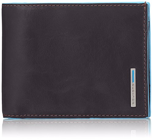 Piquadro PU1239B2/MO Blue Square Portafoglio, Mogano, 12 cm