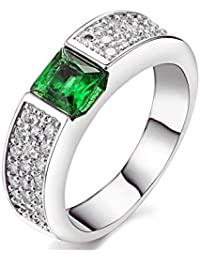 Ruvee IceCube Emerald Of Nizam Platinum Plated Ring For Women