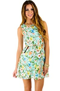 Floral Print Belted Dress in Mint
