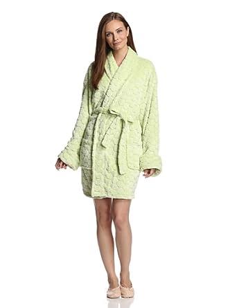 Solid Pom Pom Plush Jacquard Women's Bathrobe, Short, Lettuce Green, One Size