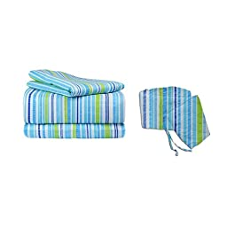 bkb Striped Cradle Bedding Set, Blue/Green, 18\