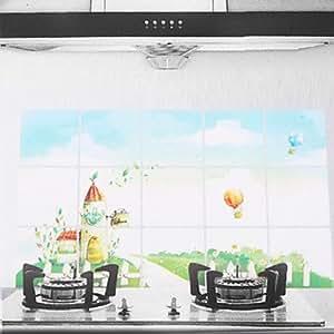 75x45cm motif ch teau r sistant l 39 huile imperm able l 39 eau sticker mural de cuisine amazon. Black Bedroom Furniture Sets. Home Design Ideas