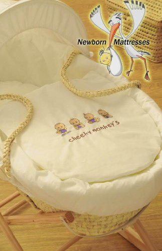 BABY MOSES BASKET SOFT DRESSING & MAIZE PALM LEAF BASKET WITH MATTRESS & ROCKING STAND (Cheeky Monkeys Cream)