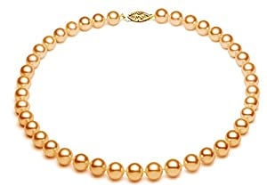 PremiumPearl 9-9.5mm 14k Yellow Gold AA+ Quality Golden Akoya Saltwater Cultured Pearl Necklace, 17