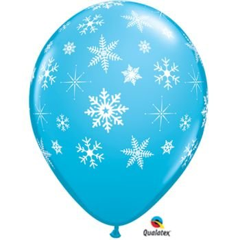 "(12) Light Blue 11"" Latex Balloon with Falling White Snowflakes"