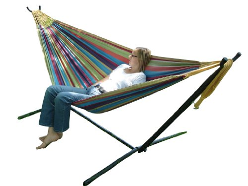Vivere Uhsdo9 Double Hammock With Space-Saving Steel Stand - Tropical front-1067204
