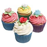 12 Mixed Colour Roses with Leaves- Beautiful Edible Cake Decorations