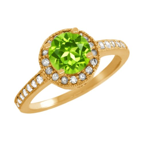 1.20 Ct Round Green Peridot Sapphire Gold Plated Sterling Silver Ring