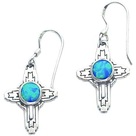 Sterling Silver Created Opal Cross Earrings Jewelry