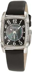 Stuhrling Original Women's 163A.121B1 Classique Carnegie Rose Swiss Quartz Swarovski Crystal Mother-Of-Pearl Black Watch