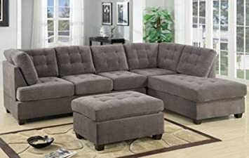 Furniture2go F7139 Charcoal Waffle Suede Sectional Sofa - Reversible Left/Right Chaise, 3-Seat Sofa
