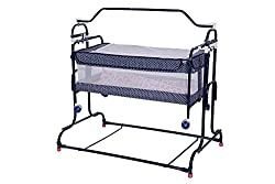 Mothertouch High Compact Cradle (Navy Blue Polka Dot)