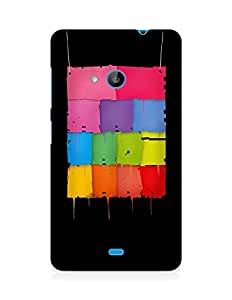 Amez designer printed 3d premium high quality back case cover for Microsoft Lumia 535 (Squares colorful shape dark)
