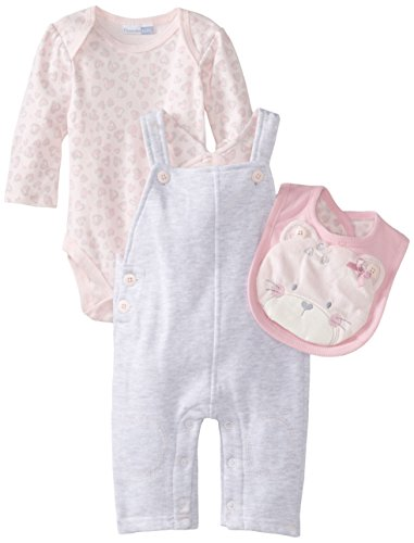 Vitamins Baby Baby-Girls Newborn Plush Kitty 4 Piece Fleece Overall Set, Grey, 6 Months