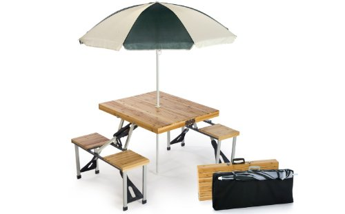 4-Person Portable Foldable Wooden Picnic Table With Two-Tone Umbrella and Case