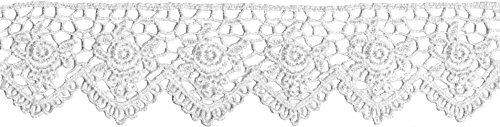 "Find Bargain Venice Lace Scallop Edge Rose 1-1/2"" Wide 10 Yards-White"