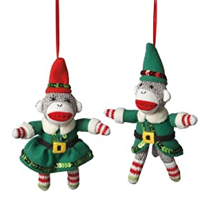 Elf Sock Monkey Ornament Set