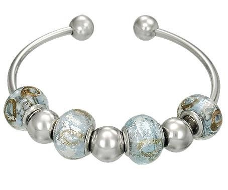Silver Stainless Steel Torque Bangle with Light Blue, Silver and Gold Glitter Effect Glass Beads - Size Medium Up (Adjustable; for a wrist measuring appx 6.4