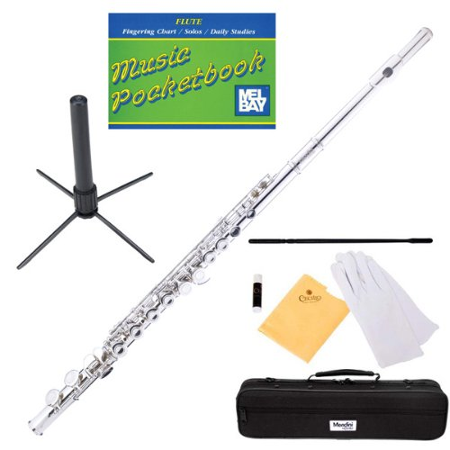 Mendini MFE-N Nickel Plated Key of C Flute + 1 Yr Warranty, Case, Stand, Cleaning Rod & Cloth, Joint Grease, & a Pair of Gloves