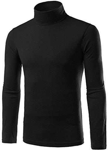 What Lees Mens Casual Solid High Neck Slim Pullover Underwear Shirts B200-Black-M