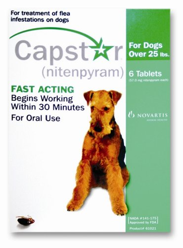 Novartis Capstar Flea Treatment Green Tabs for Dogs and Cats 25 Pounds or Over, 6 Tablets