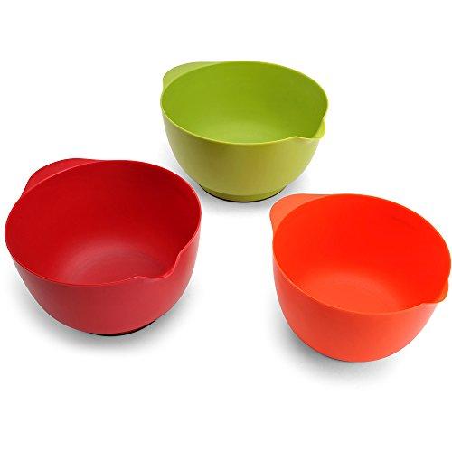 Farberware 3 Piece of Assorted Plastic Mixing Bowls Set with Non Slip Base (Farberware Dish Brush compare prices)