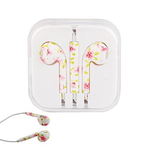Elonbo Tm Cute Flower 3.5Mm Stereo Earphone Headset Earbuds Inear Volume Control Remote Mic For Apple Iphone Ipod Ipad