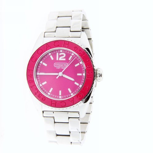 Coach Women's Boyfriend Watch Andee Collection Hot Pink Dial SS Bracelet 14501380.