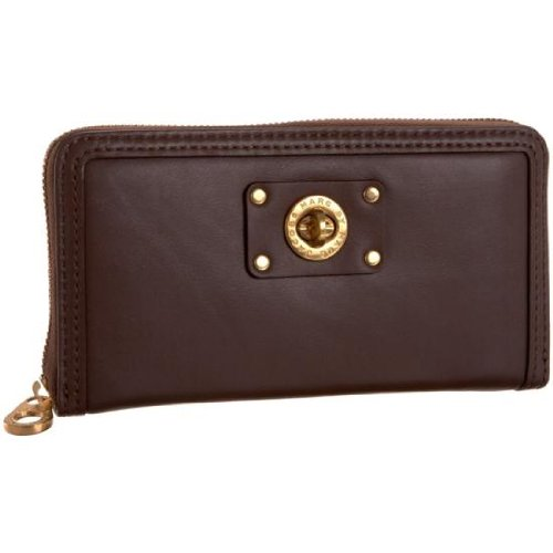 Marc Jacobs Turnlock Zip Around Wallet Hot Chocolate