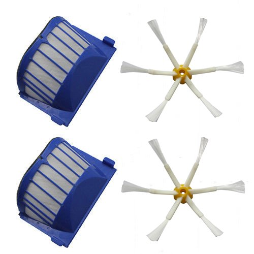 Shp-Zone 2 X Aero Vac Filter & 2 X Side Brush 6-Armed For Irobot Roomba 500 600 Series 536 550 551 552 564 620 630 650 660 Vacuum Cleaning Robots front-546724