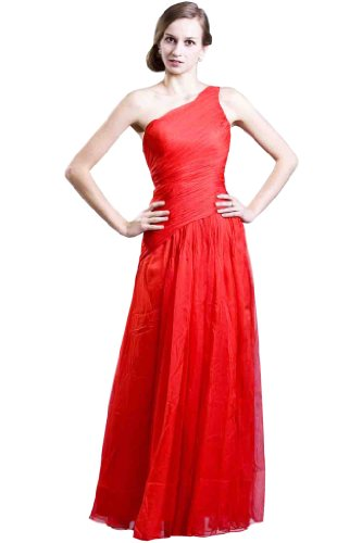 One-Shoulder Chiffon Maxi Evening Dress