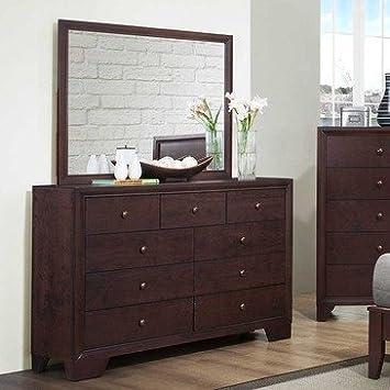 Homelegance Kari 9 Drawer Dresser w/ Mirror in Warm Brown Cherry