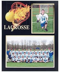 Lacrosse Player/Team 7x5/3½x5 MEMORY MATES cardstock double photo frame sold in 10's - 5x7