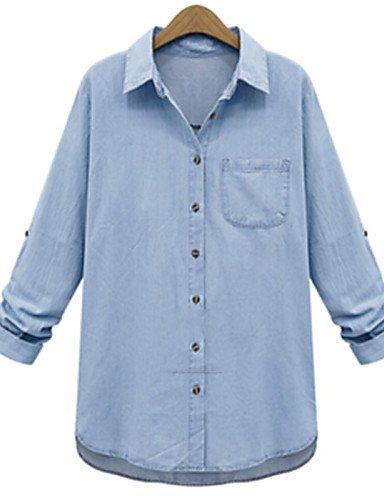 ZXR-femmes-de-Massif-Bleu-pour-Femme-col-chemise--manches-longues