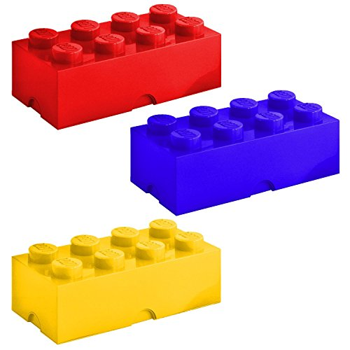 Lego 8-Knobs Storage Brick Set, Blue-Red-Yellow, 9.8x19.7x7.1 (Lego Knobs compare prices)